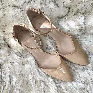 Franco Sarto Pump Nude Patent Leather Ankle Strap